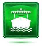 Het neon lichtgroene vierkante knoop van het schippictogram royalty-vrije illustratie