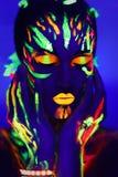 Het neon maakt kunst het gloeien omhoog het schilderen Stock Afbeeldingen