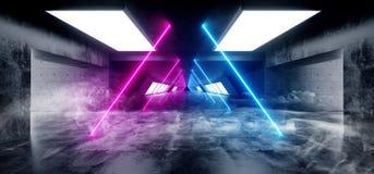 Het Neon van Achtergrond FI van rooksc.i Driehoek Gestalte gegeven het Gloeien Concrete Cyberpunk Witte Blauwe Purpere Grunge Wee royalty-vrije illustratie
