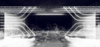 Het Neon van Achtergrond FI van rooksc.i Lijn Gestalte gegeven Structuurstadium het Gloeien Concrete Cyberpunk Witte Grunge Weers stock illustratie