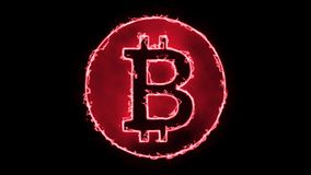 Het Neon van de Bitcoinbrand - Zwarte Achtergrond 4K stock illustratie