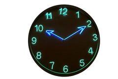 Het neon van de klok stock afbeelding