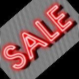 Het neon van het verkoopteken met strokenachtergrond Stock Afbeelding