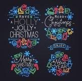 Het neon van Kerstmiselementen Stock Fotografie