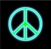 Het neon van het vredesteken op zwarte Stock Foto