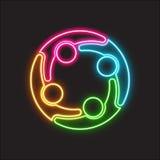 Het Neonembleem van de mensen Sociale Groep Stock Afbeelding