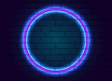 Het neonkader is rond op bakstenen muurachtergrond vector illustratie