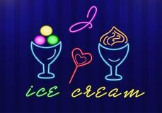 Het neonroomijs in roomijskommen en de suikergoedharten met woorden I houden van roomijs Ge?soleerde voorwerpen Vector stock illustratie