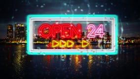 Het neonteken ` opent 24 ` openbaart door regendalingen stock footage