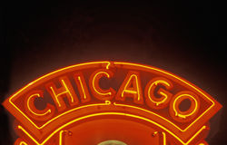 Het Neonteken van Chicago, Chicago, Illinois Stock Foto's