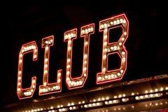 Het neonteken van de club stock fotografie