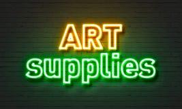 Het neonteken van de kunstlevering op bakstenen muurachtergrond Stock Afbeelding