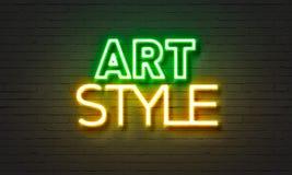 Het neonteken van de kunststijl op bakstenen muurachtergrond Royalty-vrije Stock Fotografie