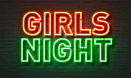 Het neonteken van de meisjesnacht op bakstenen muurachtergrond royalty-vrije stock afbeeldingen