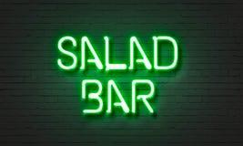 Het neonteken van de saladebar op bakstenen muurachtergrond Stock Foto