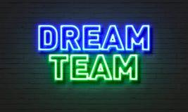 Het neonteken van het droomteam op bakstenen muurachtergrond Royalty-vrije Stock Afbeelding