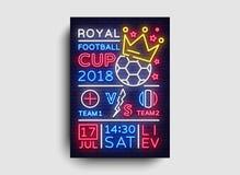 Het neonvector van de voetbalaffiche Koninklijk van de de prentbriefkaarvlieger van de Voetbalkop 2018 het ontwerpmalplaatje, lic Stock Afbeeldingen