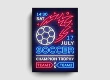 Het neonvector van de voetbalaffiche Het malplaatje van het de vliegerontwerp van de voetbalprentbriefkaar, lichte banner, het he Stock Afbeelding