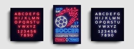 Het neonvector van de voetbalaffiche Het malplaatje van het de vliegerontwerp van de voetbalprentbriefkaar, lichte banner, het he Royalty-vrije Stock Foto
