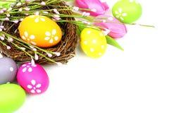Het nest en de bloemen van Pasen Stock Foto