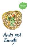 Het nest Kunafa van de vogel stock illustratie