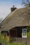 Het nest van de ooievaar op een huis Stock Foto's