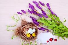 Het nest van de vogel en eieren en purpere bloemen op een houten achtergrond Stock Foto
