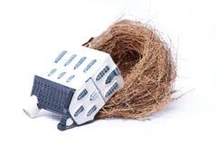 Het nest van de vogel en huis, onroerende goedereneconomie Stock Afbeeldingen