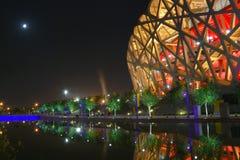 Het nest van de vogel (het Nationale Stadion van Peking) Stock Afbeeldingen