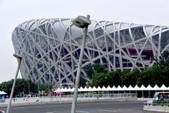 Het Nest van de vogel, Nationaal Stadion, Peking, China stock foto's
