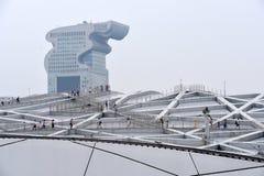 Het Nest van de vogel, Nationaal Stadion, Peking, China royalty-vrije stock fotografie