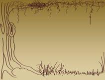 Het nest van de vogel op getrokken boomhand Stock Afbeeldingen