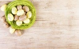 Het Nest van Paaseierenpasen Geelgroene Bruine Pastelkleuren Als achtergrond Tekstruimte stock afbeelding