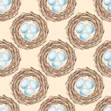 Het nest van vogels met eieren Naadloos patroon royalty-vrije illustratie