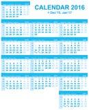 het net van de het jaarkalender van 2016 (Engels, Russisch, Oekraïens) Stock Afbeeldingen