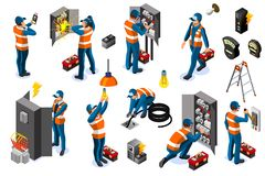Het Net van de stroommacht met Karakterpictogrammen royalty-vrije illustratie