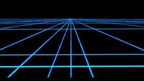 Het net van het neon cyberpunk Perspectief met transparantie4k lijn vector illustratie