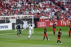 Het Netto Baken van het doel @ Voetbal - de Ventilators van de Stadionvoetbal Stock Afbeelding