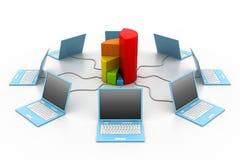 Het netwerk van de computer in bedrijfsgrafiek Royalty-vrije Stock Fotografie