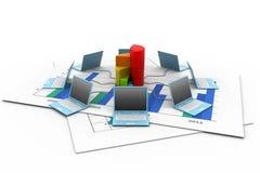 Het netwerk van de computer in bedrijfsgrafiek Stock Afbeeldingen