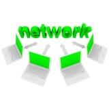 Het Netwerk van de computer - Laptops en Word Stock Afbeelding
