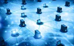 Het netwerk van de computer met server Stock Afbeelding