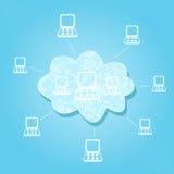 Het Netwerk van de Gegevensverwerking van de wolk Stock Afbeelding