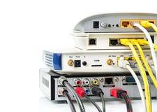 Het netwerkhub van de modemrouter Stock Foto