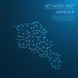 Het netwerkkaart van Armenië Stock Afbeelding