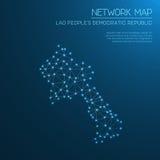 Het netwerkkaart van de Republiek van Lao People ` s Democratische Vector Illustratie