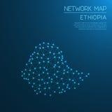 Het netwerkkaart van Ethiopië Stock Foto