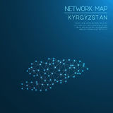 Het netwerkkaart van Kyrgyzstan Stock Fotografie