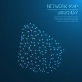 Het netwerkkaart van Uruguay Stock Fotografie