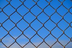 Het netwerkomheining van de staaldraad en blauwe hemel Stock Afbeeldingen